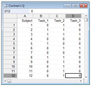 如何为Cochran Q测试输入数据
