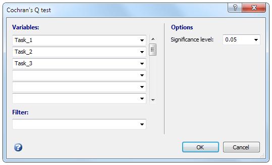 Cochran的Q测试-对话框