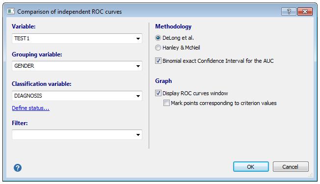 比较独立ROC曲线的对话框