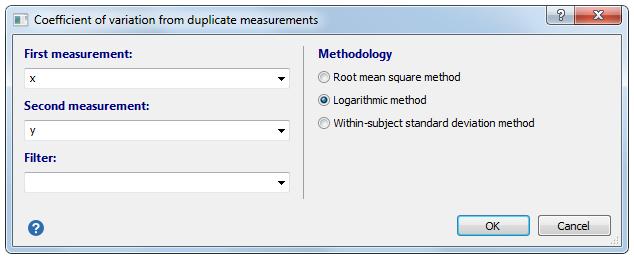 重复测量的变异系数-对话框