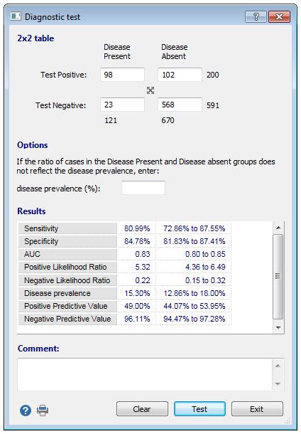 诊断测试对话框