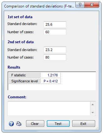 标准偏差比较(F检验)。