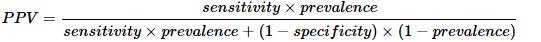 根据贝叶斯定理的正预测值公式。