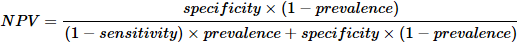 根据贝叶斯定理的负预测值公式。