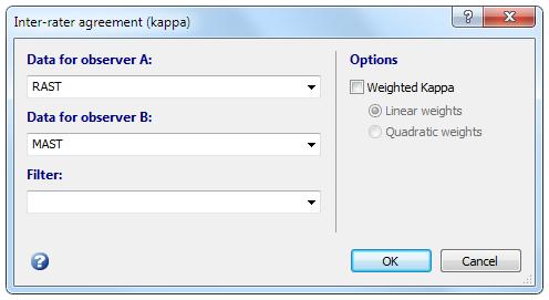 评估者间协议(Kappa)对话框