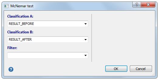 McNemar测试对话框