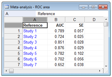 荟萃分析:ROC曲线下的区域-如何输入数据