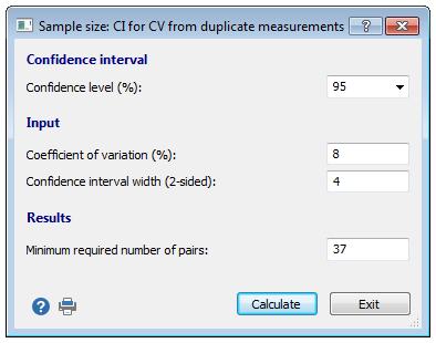 重复测量的变异系数置信区间的样本量