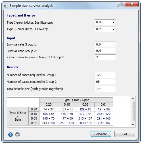 用于生存分析的样本量计算。