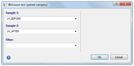 Wilcoxon测试(配对样本)-对话框